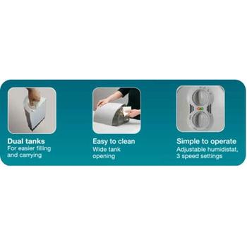 Convenient features designed in Honeywell QuietCare Humidifier with Air Washing Technology